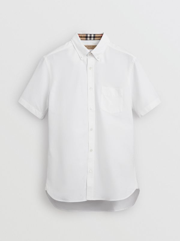 Short-sleeve Cotton Oxford Shirt in White - Men | Burberry Australia - cell image 3