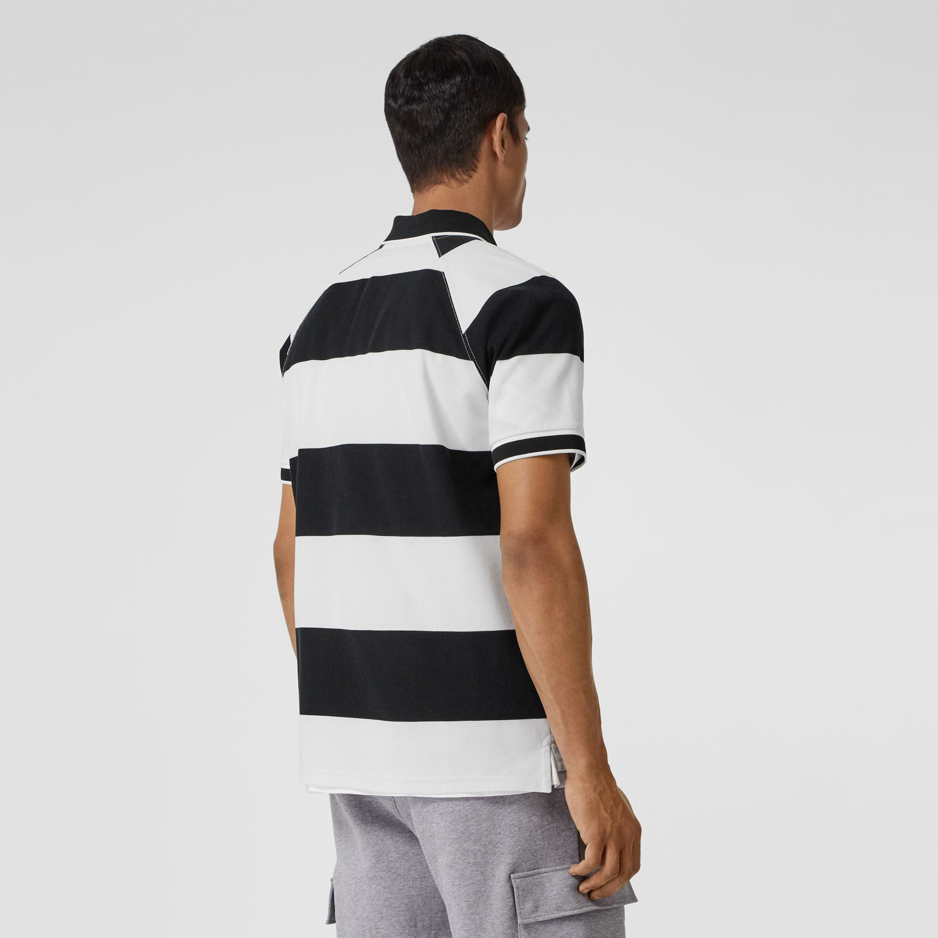Rugby Stripe Tipped Cotton Piqué Oversized Polo Shirt in Black/white - Men | Burberry United Kingdom - gallery image 2
