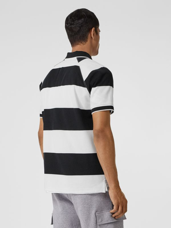 Rugby Stripe Tipped Cotton Piqué Oversized Polo Shirt in Black/white - Men | Burberry - cell image 2