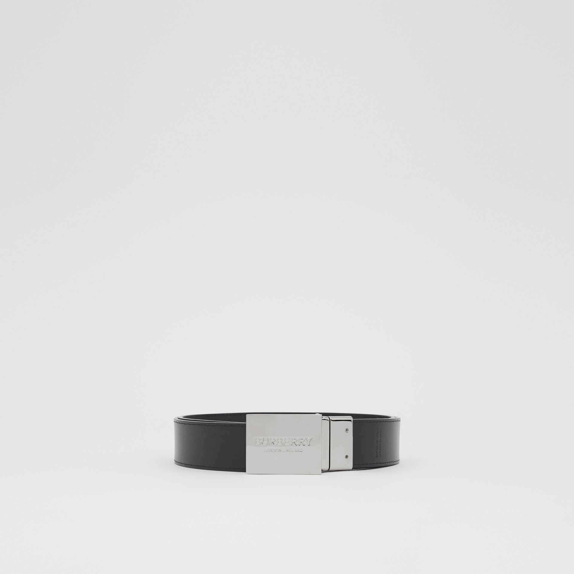 Reversible Plaque Buckle London Check Belt in Dark Charcoal/black - Men | Burberry Canada - gallery image 6