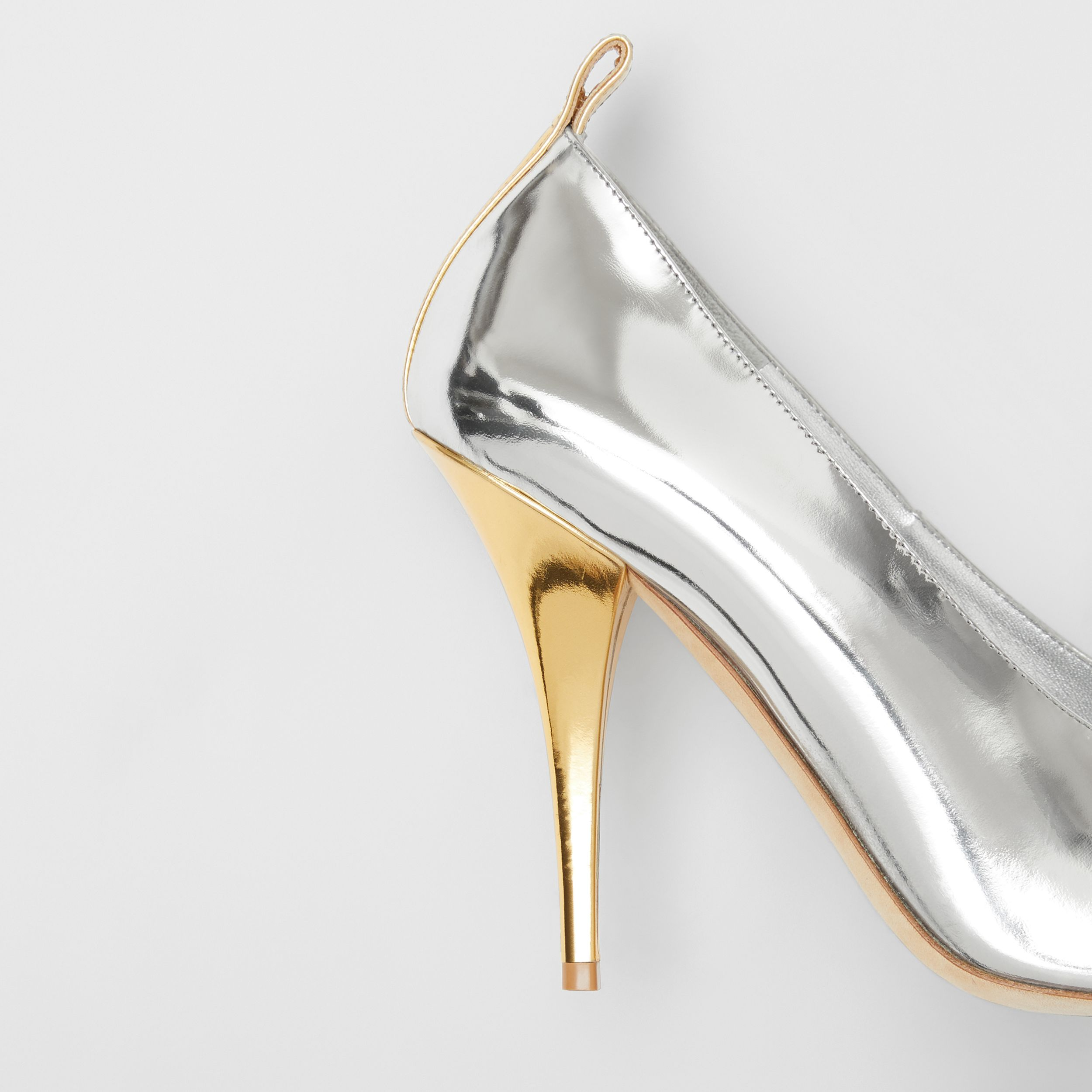 Two-tone Metallic Leather Pumps in Silver/gold - Women | Burberry - 2