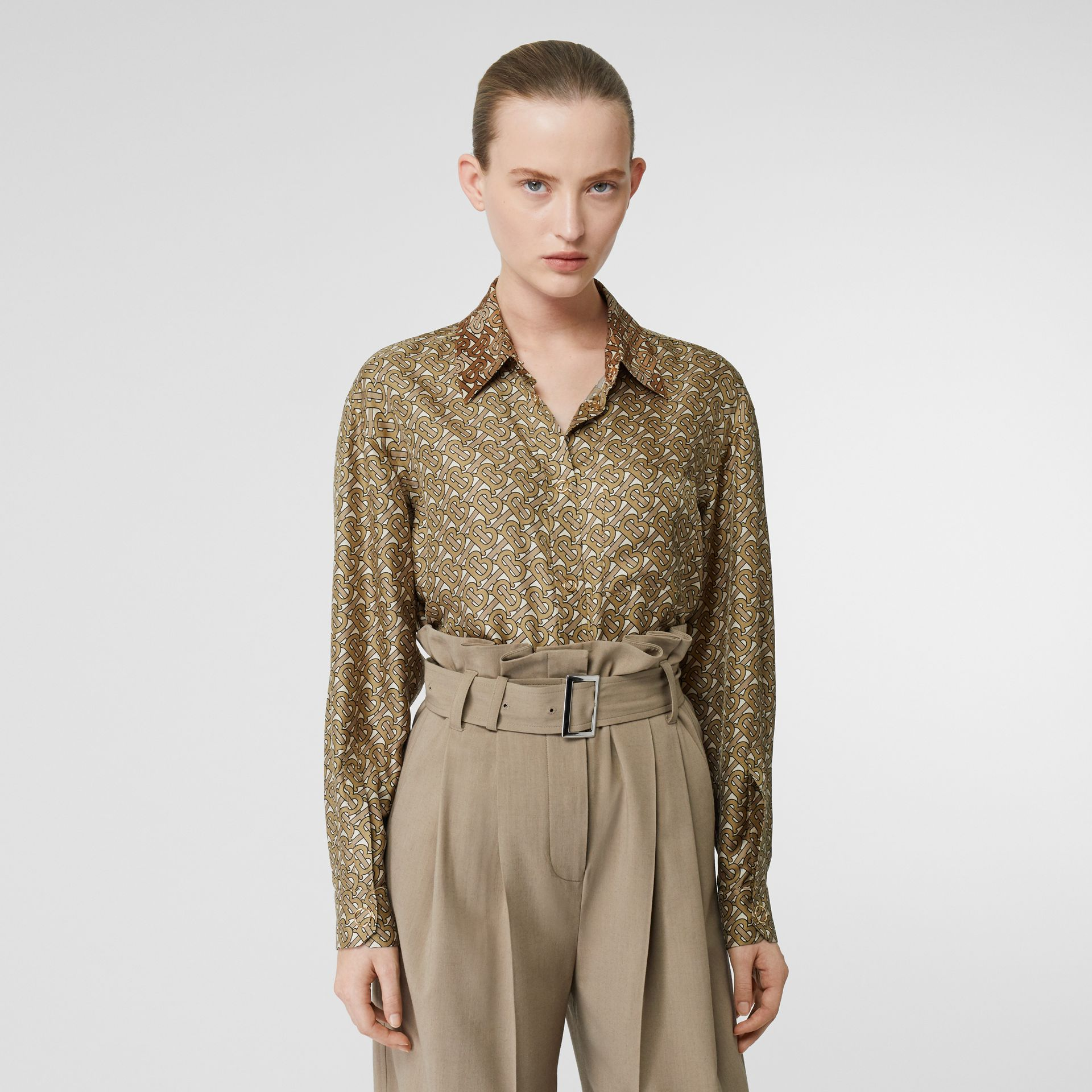 Contrast Collar Monogram Print Silk Shirt in Military Olive - Women | Burberry United Kingdom - gallery image 0