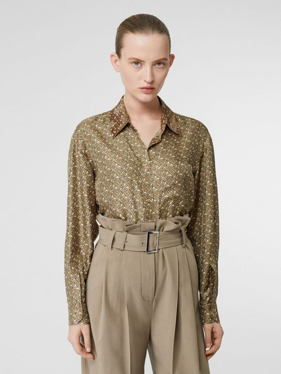 Contrast Collar Monogram Print Silk Shirt in Military Olive