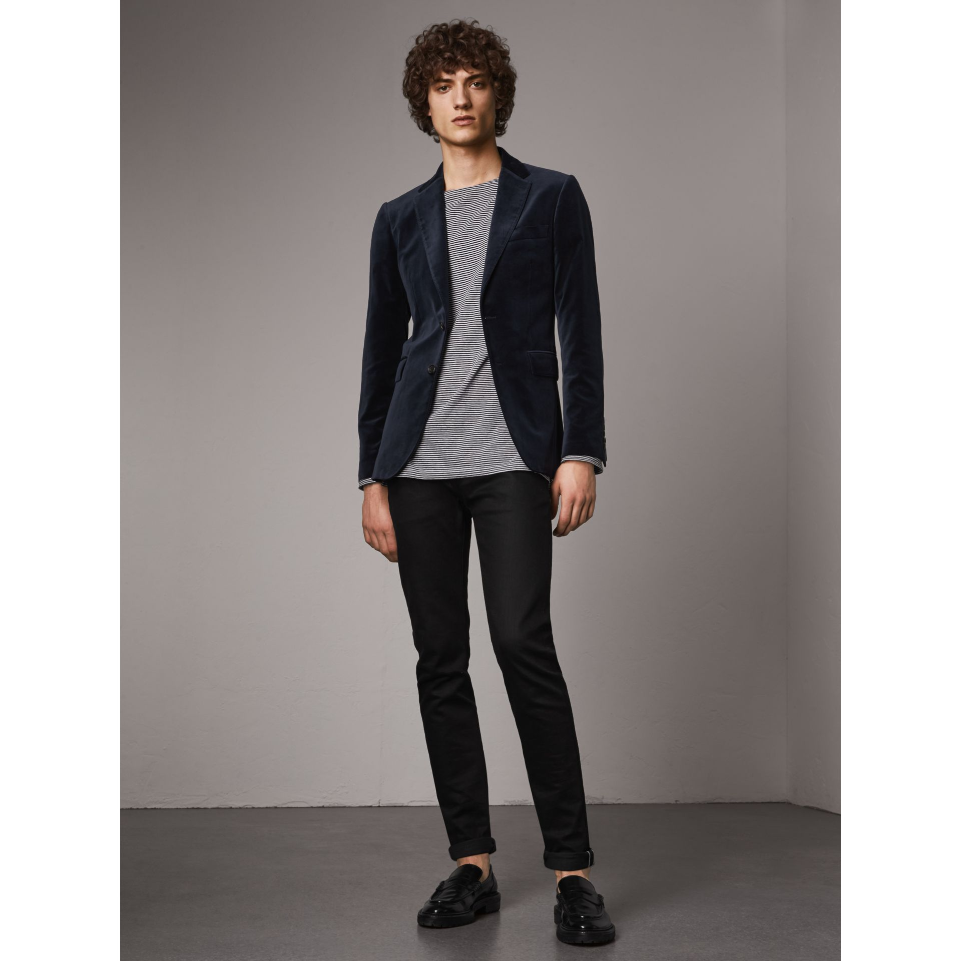 Soho Fit Velvet Tailored Jacket in Navy - Men | Burberry - gallery image 1