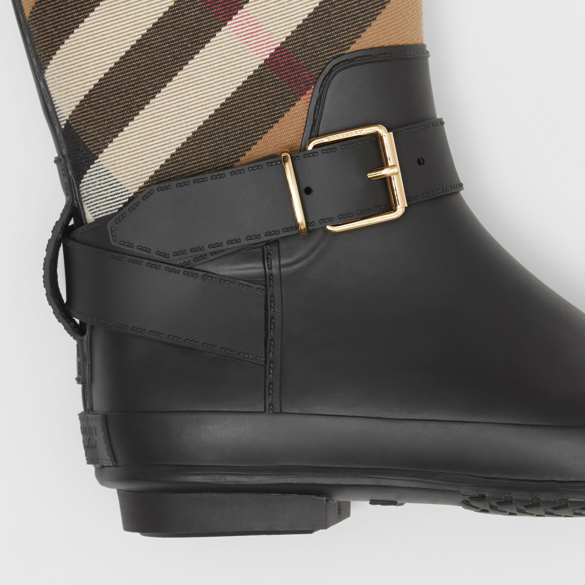 Belt Detail Check and Rubber Rain Boots in House Check/black - Women | Burberry Australia - gallery image 1