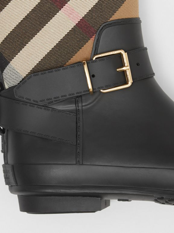Belt Detail Check and Rubber Rain Boots in House Check/black - Women | Burberry United Kingdom - cell image 1