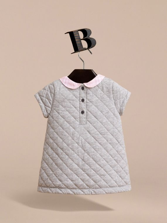 Check Collar Quilted Cotton A-line Dress in Grey Melange | Burberry - cell image 3