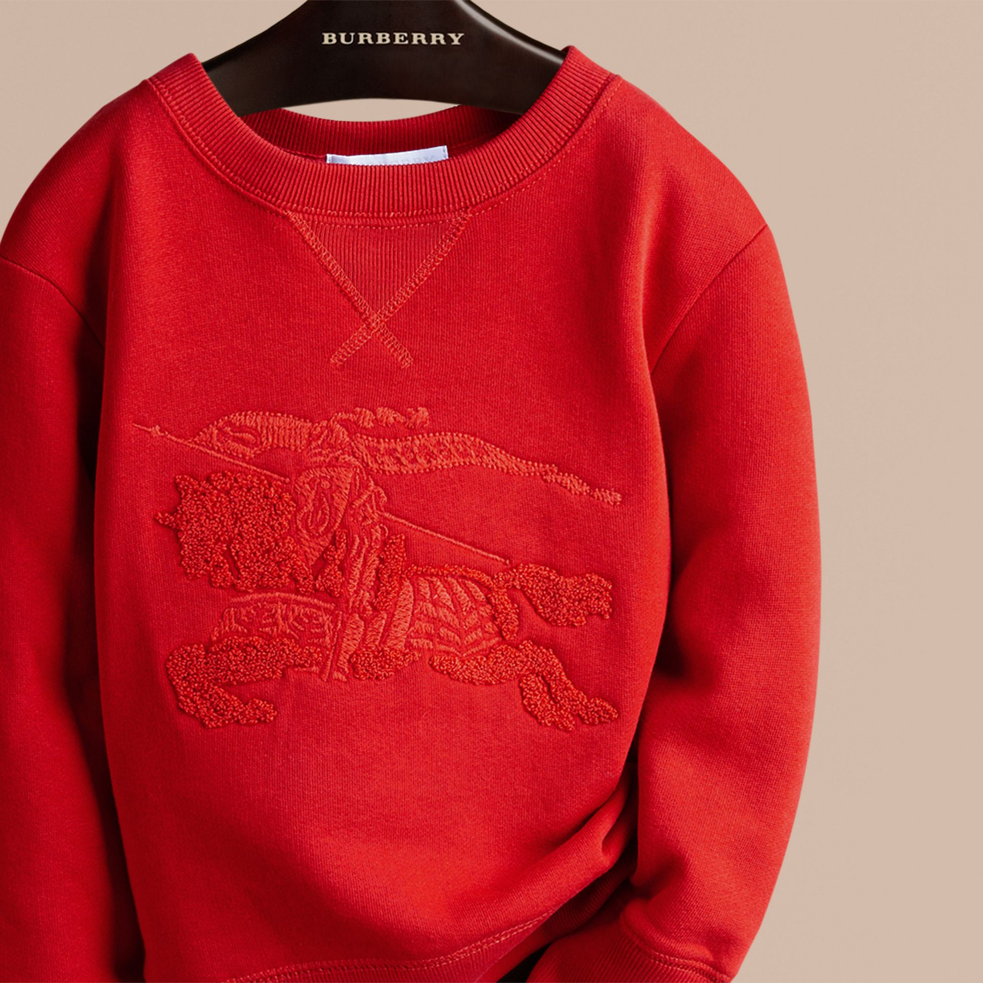 Bright military red Equestrian Knight Detail Cotton Sweatshirt - gallery image 2