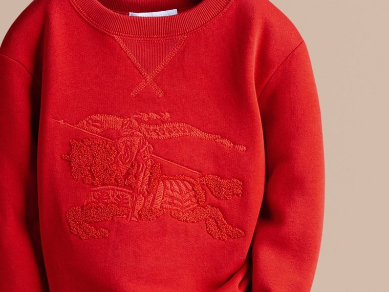Bright military red Equestrian Knight Detail Cotton Sweatshirt - cell image 1