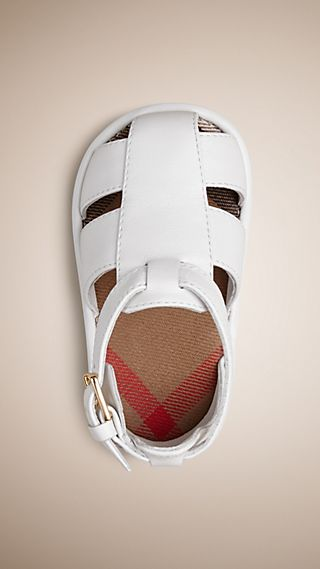 House Check Detail Leather Sandals