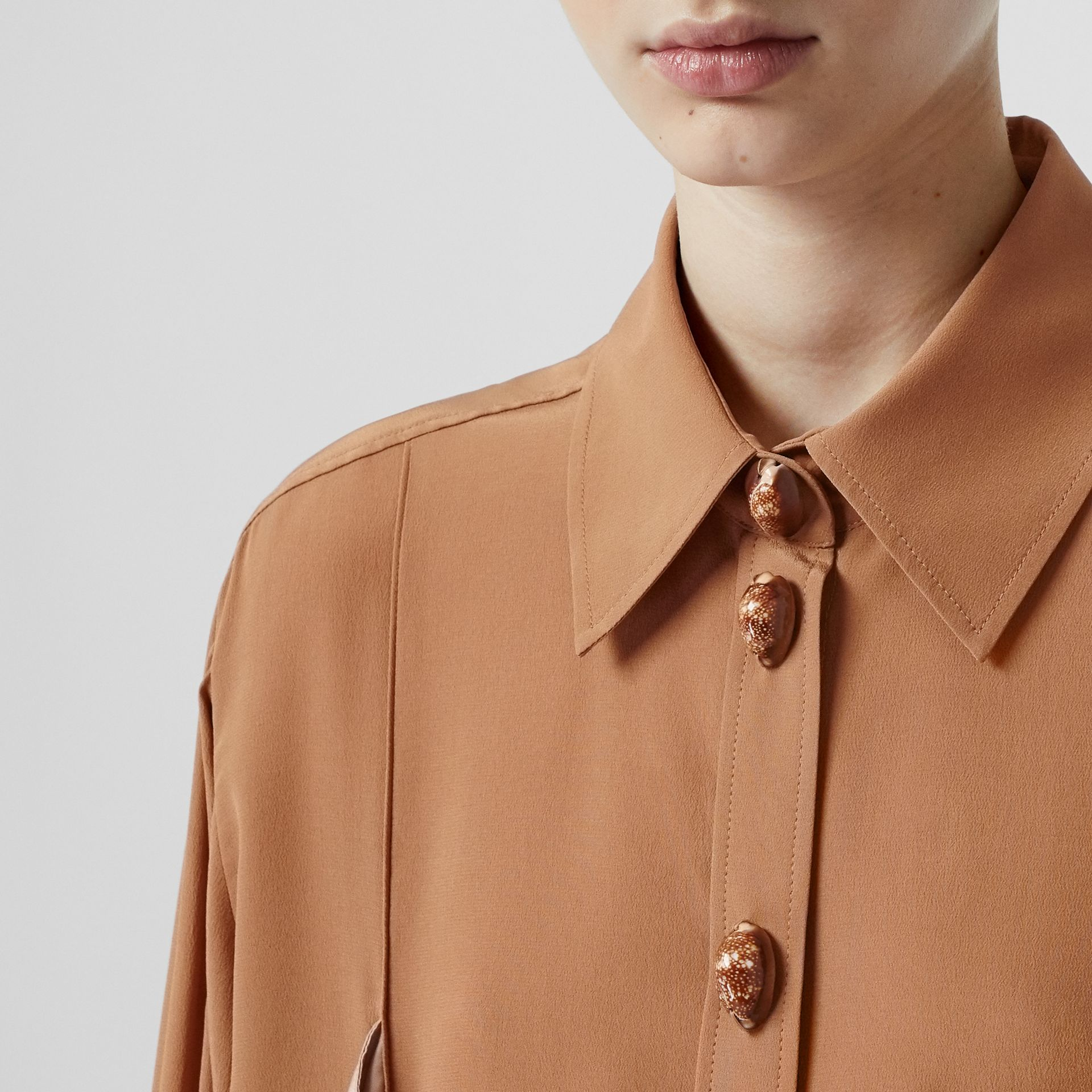Drape Detail Silk Oversized Shirt in Biscuit - Women | Burberry - gallery image 1
