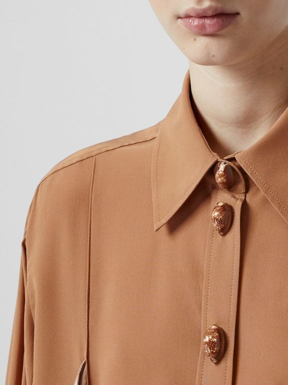 Drape Detail Silk Oversized Shirt in Biscuit - Women | Burberry - cell image 1
