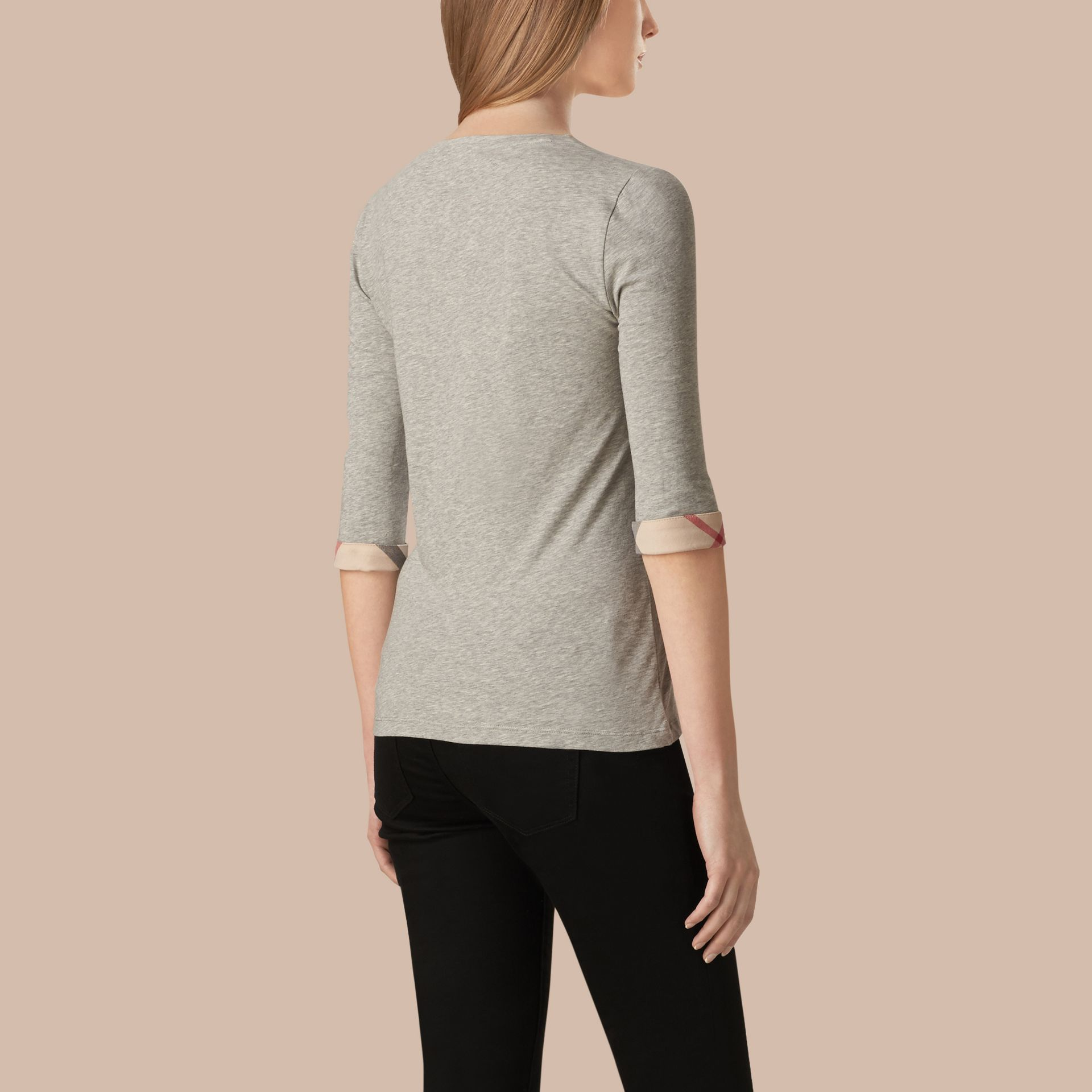 Check Cuff Stretch-Cotton Top Pale Grey Melange - gallery image 3