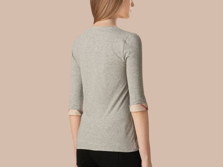 Check Cuff Stretch-Cotton Top Pale Grey Melange - cell image 2