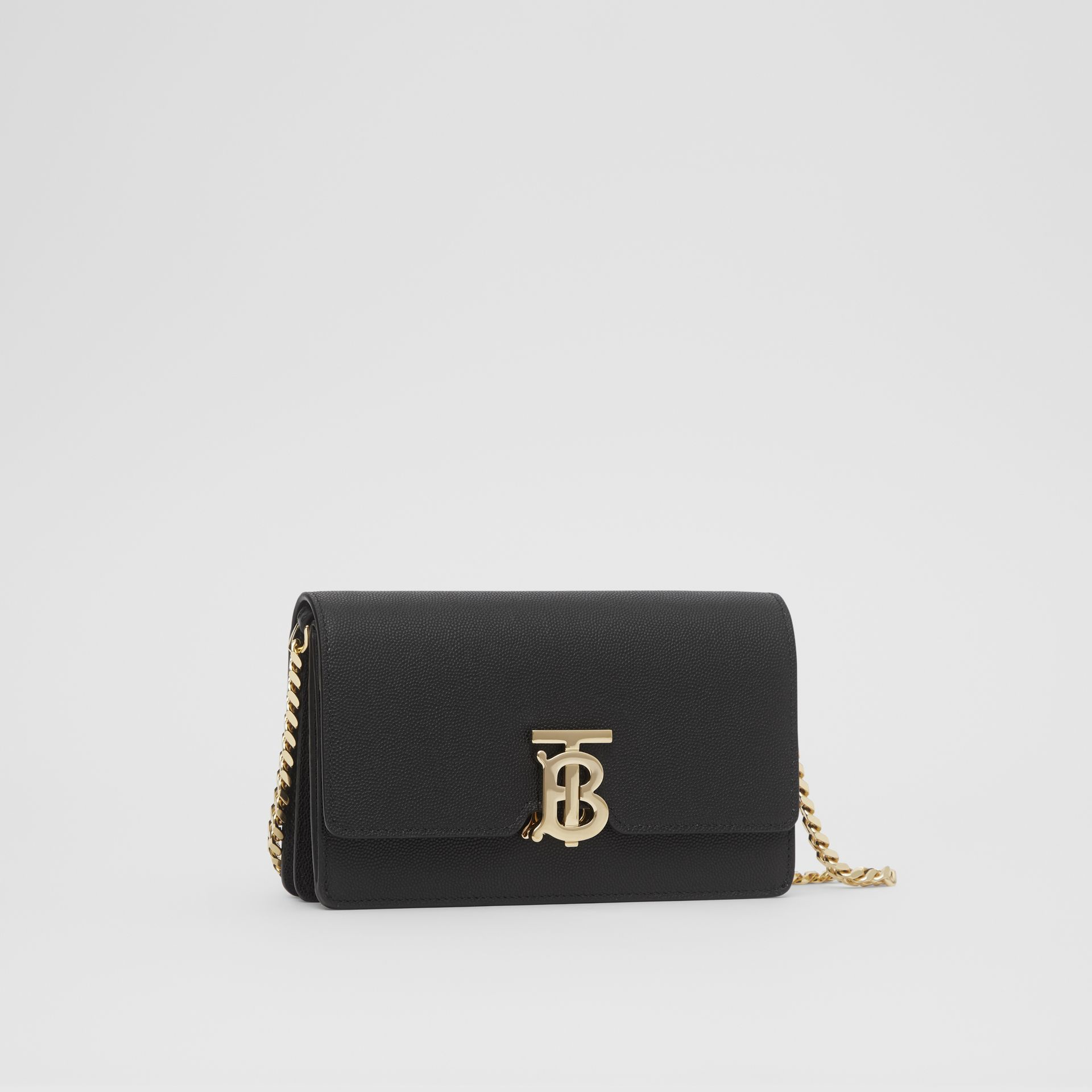 Small Grainy Leather Shoulder Bag in Black - Women | Burberry United Kingdom - gallery image 4