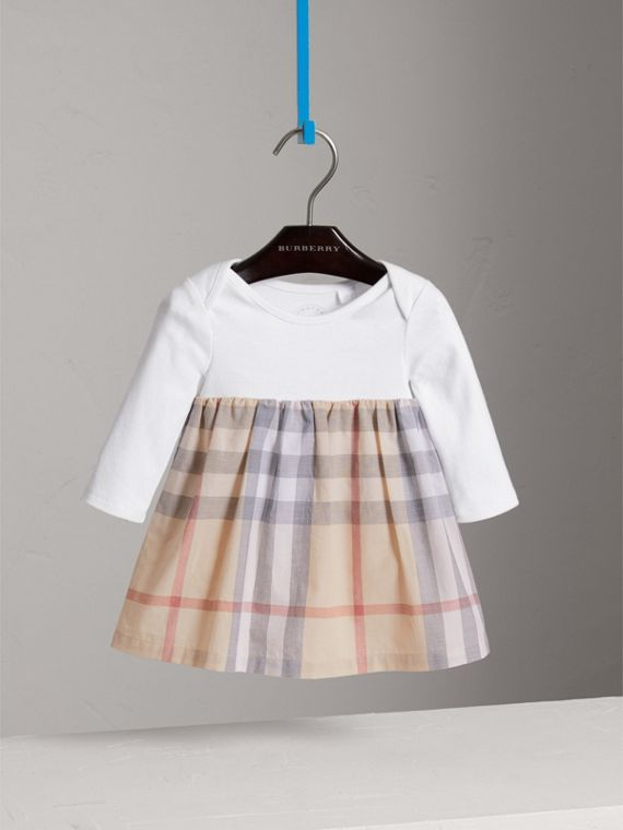 Cotton Check Dress in Pale Stone | Burberry Canada - cell image 2