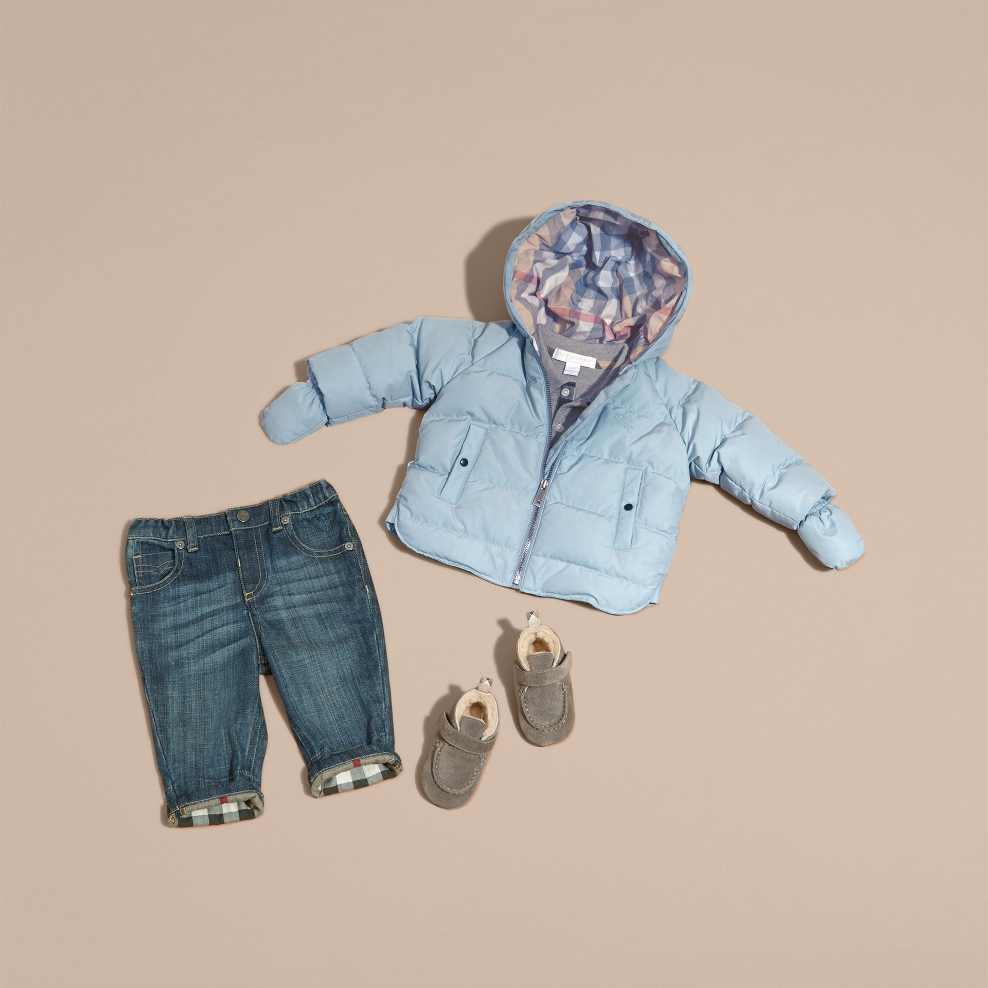 Hooded Down-filled Puffer Jacket with Mittens Ice Blue - gallery image 5