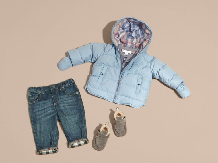 Hooded Down-filled Puffer Jacket with Mittens Ice Blue - cell image 4