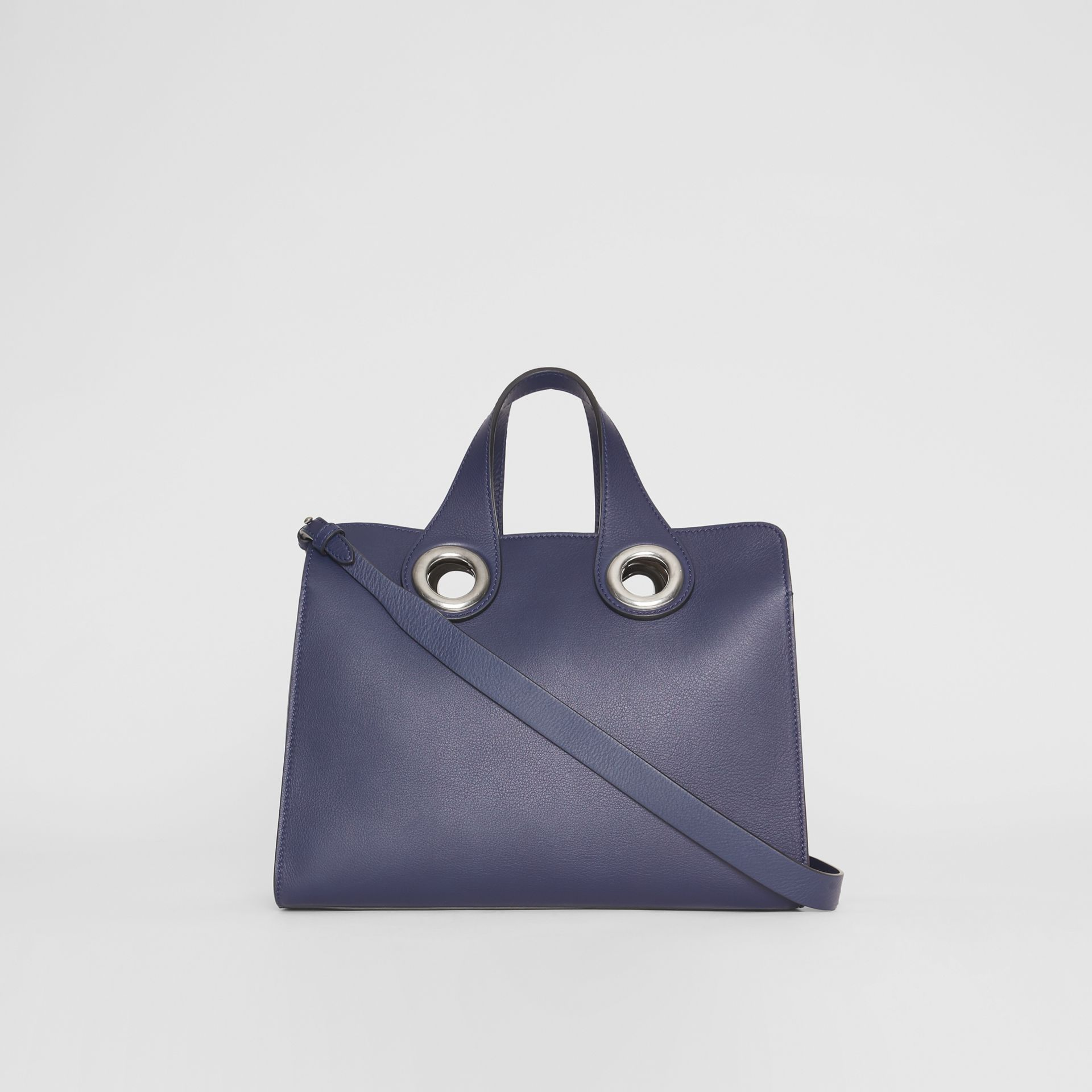 The Leather Crest Grommet Detail Tote in Regency Blue - Women | Burberry - gallery image 7