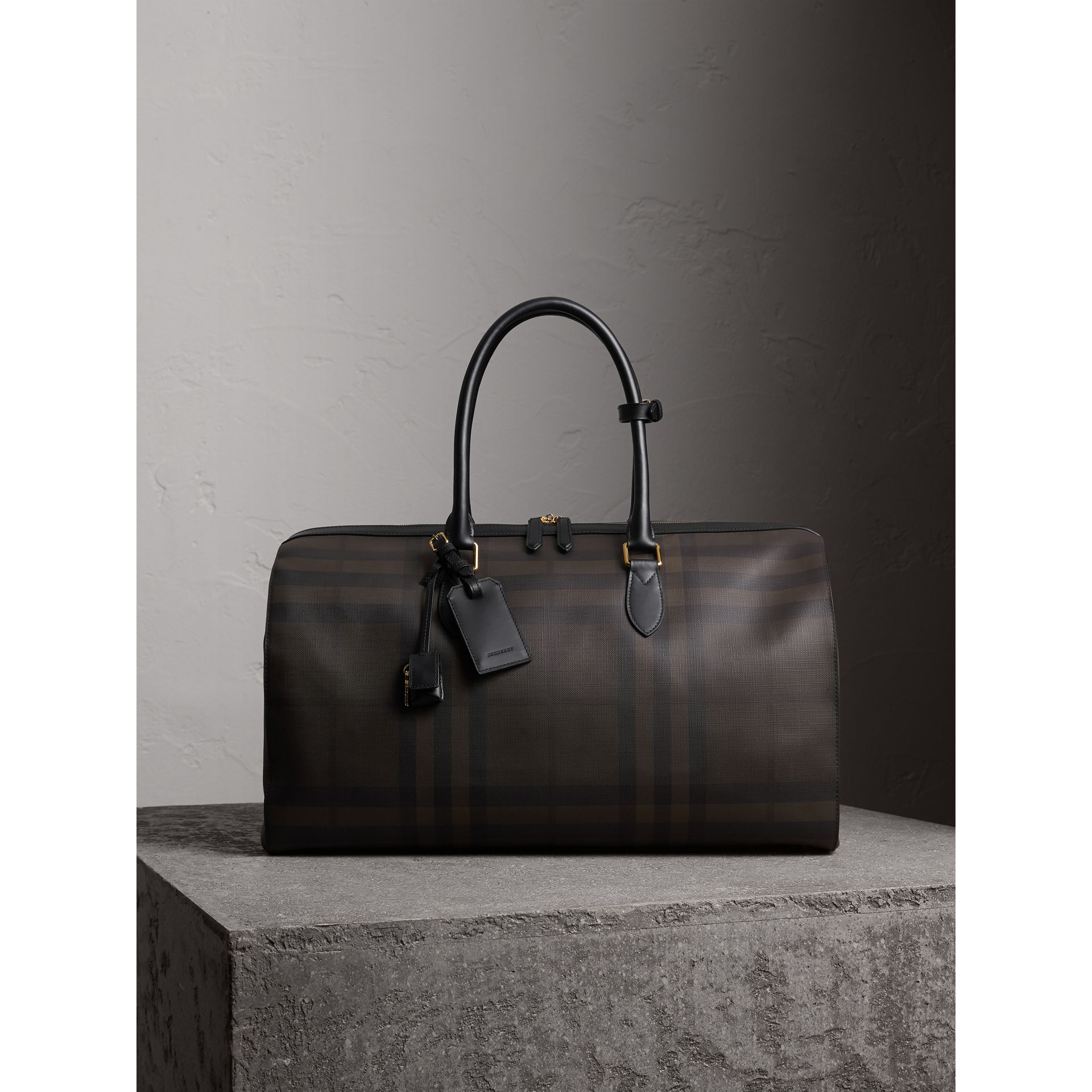 Leather Trim London Check Holdall in Chocolate/black - Men | Burberry - gallery image 1