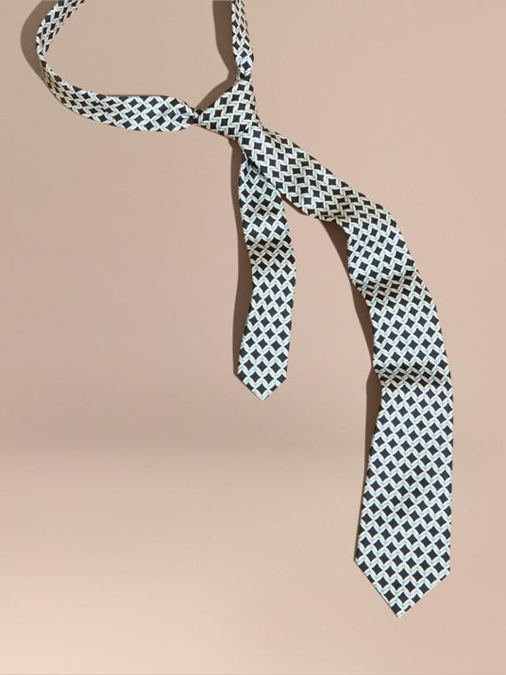 Modern Cut Geometric Print Silk Tie Eucalyptus Green