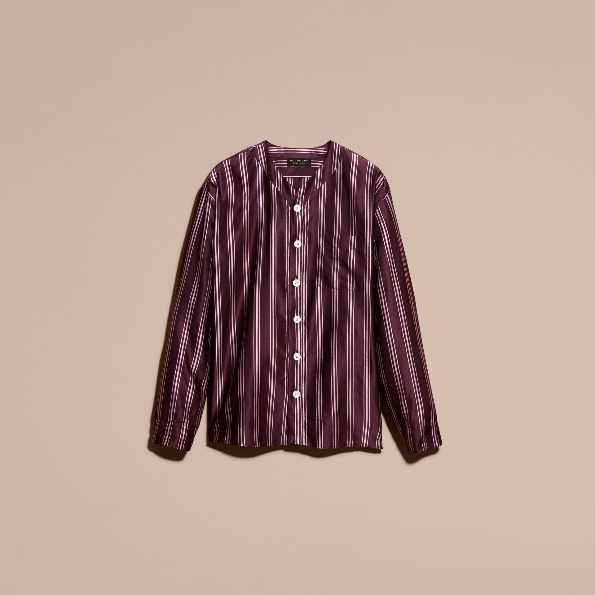Crimson Striped Cotton Silk Collarless Shirt - gallery image 4