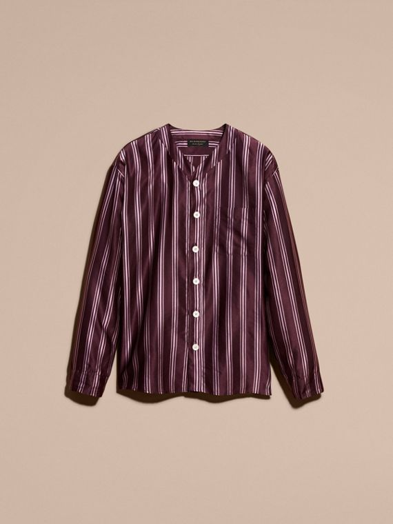 Crimson Striped Cotton Silk Collarless Shirt - cell image 3