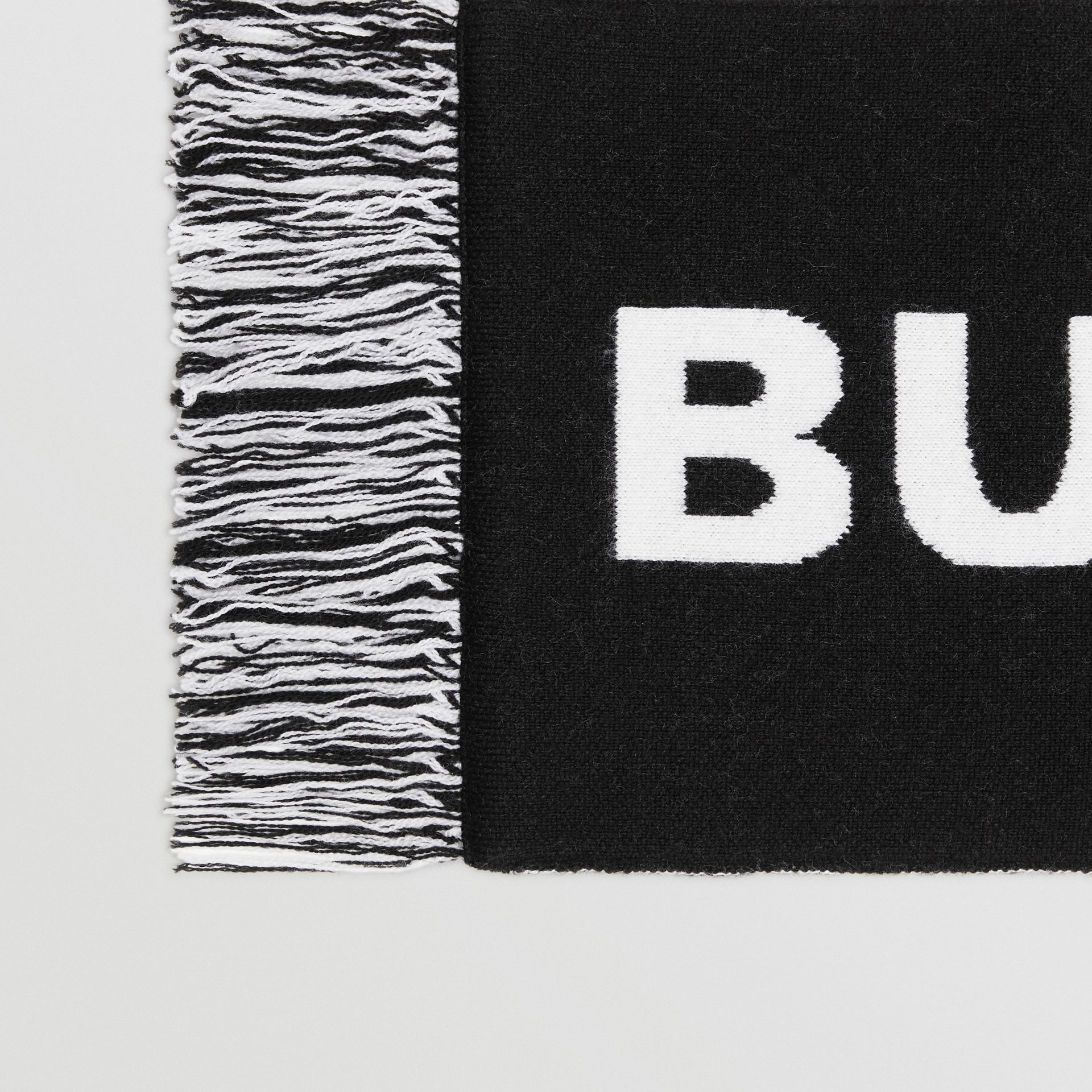 Logo Merino Wool Jacquard Scarf in Black/white | Burberry United States - gallery image 1
