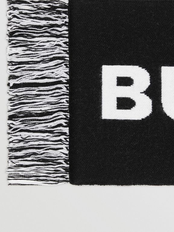 Logo Merino Wool Jacquard Scarf in Black/white | Burberry - cell image 1