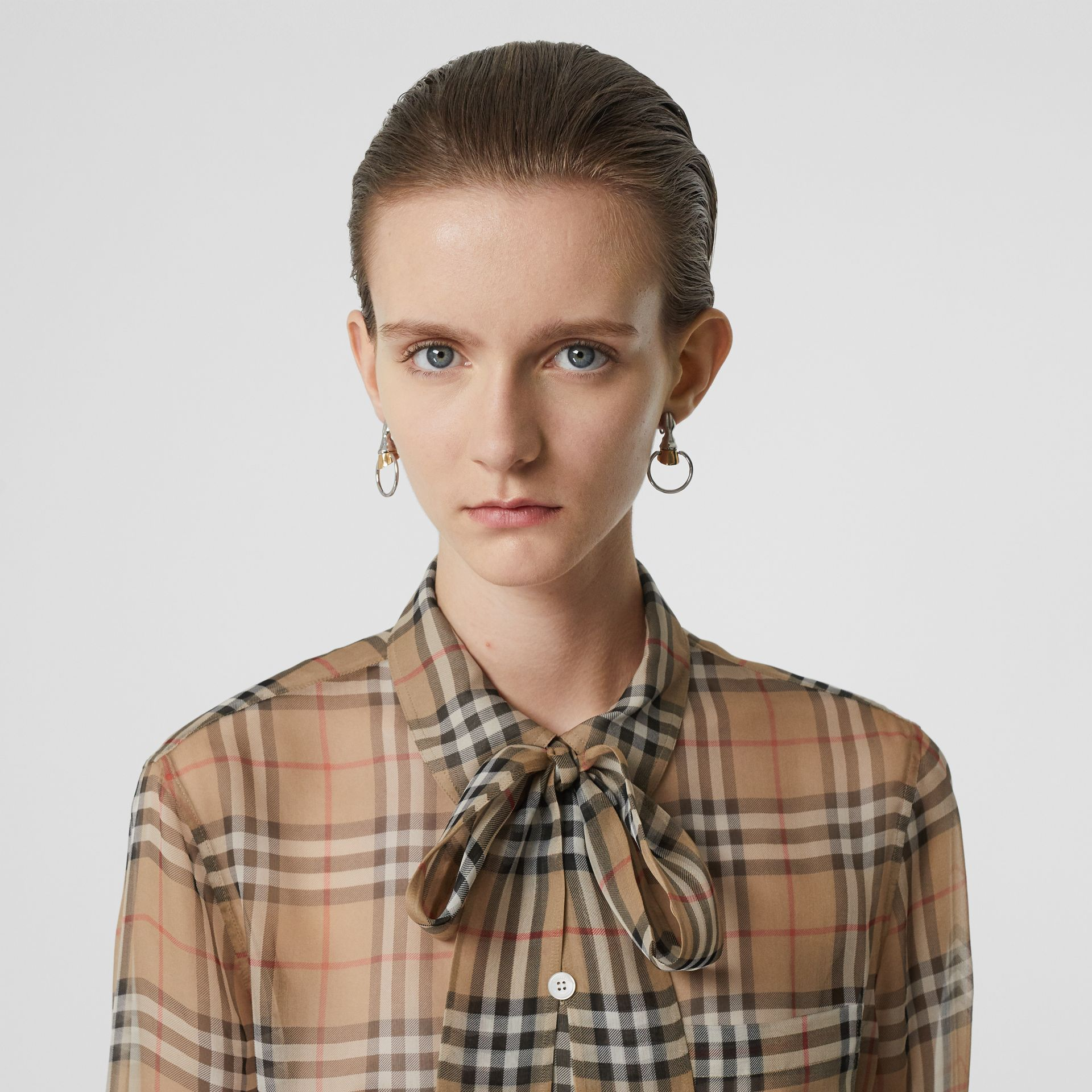 Vintage Check Silk Tie-neck Shirt in Archive Beige - Women | Burberry - gallery image 1