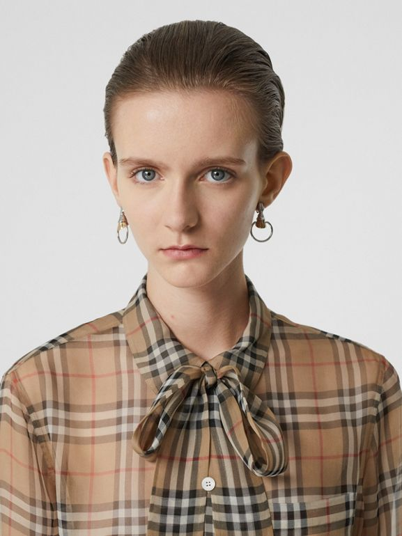 Vintage Check Silk Tie-neck Shirt in Archive Beige - Women | Burberry United States - cell image 1