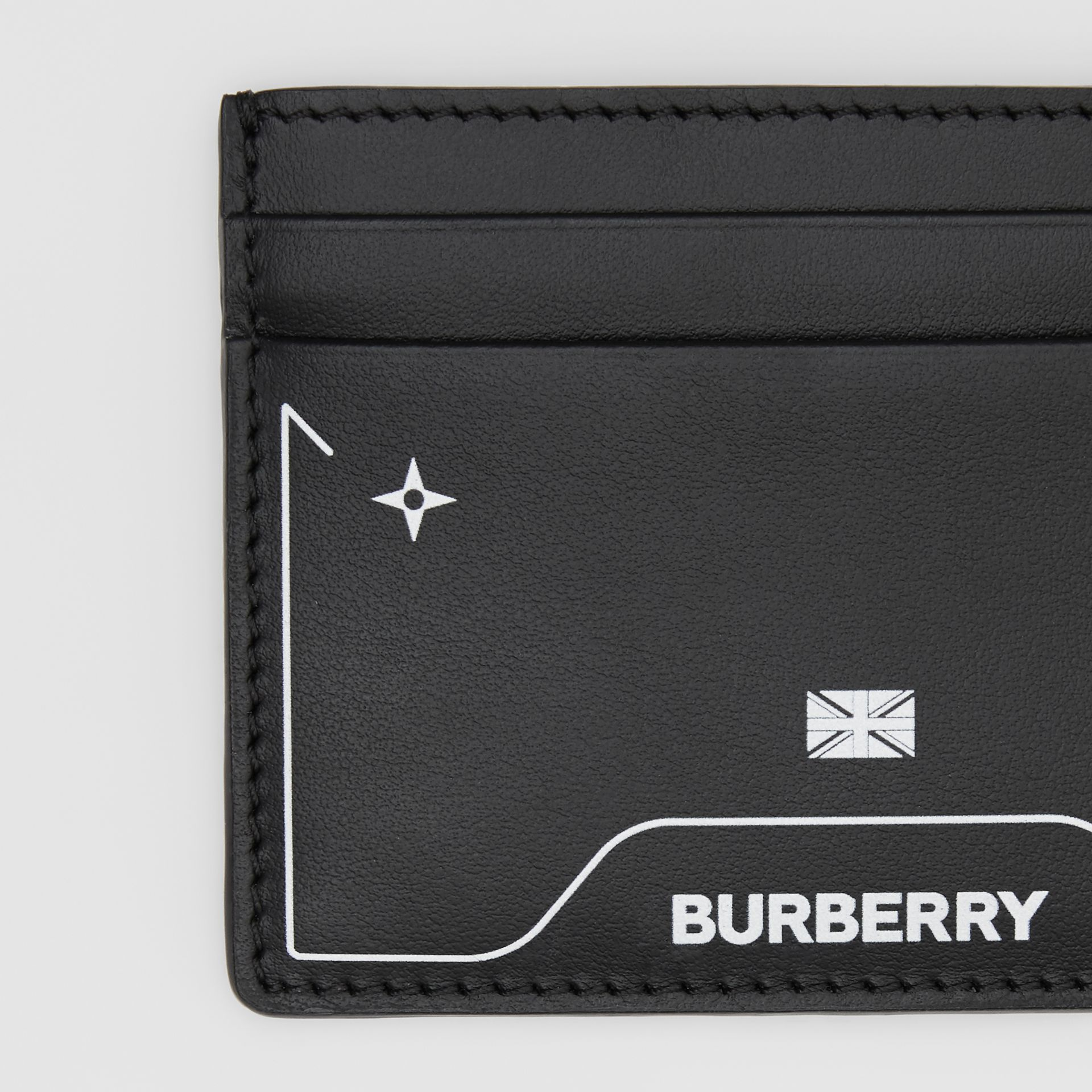Symbol Print Leather Card Case in Black - Men | Burberry United States - gallery image 1