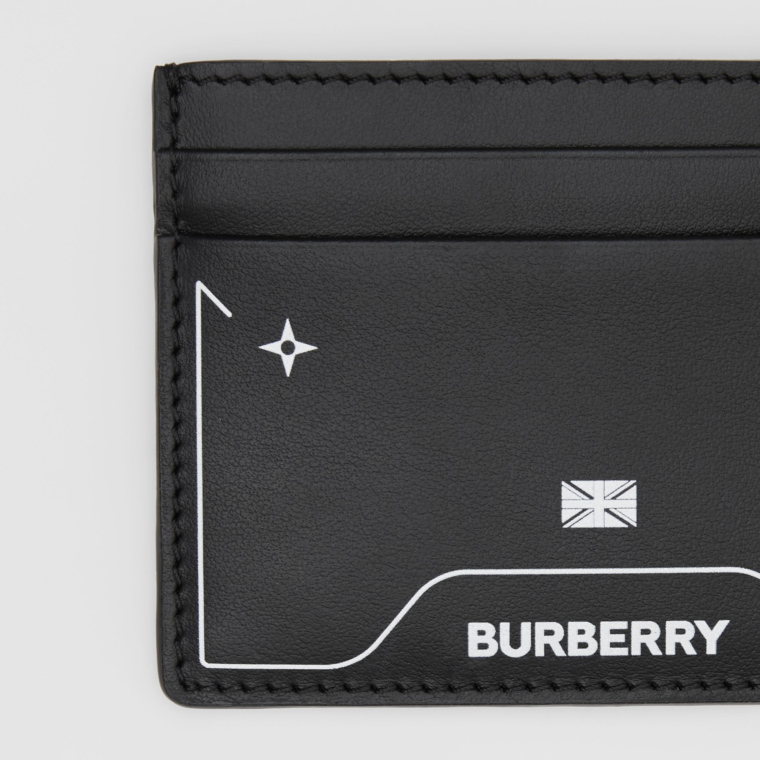 Symbol Print Leather Card Case in Black - Men | Burberry - 2