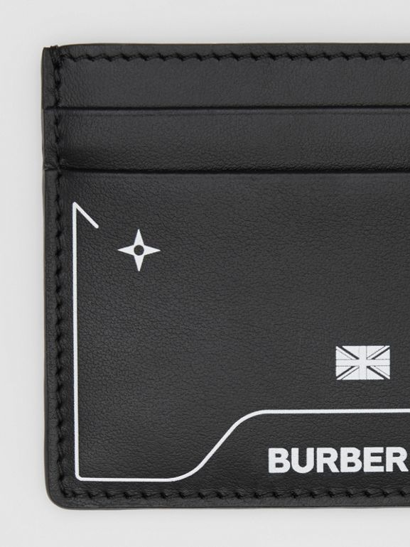 Symbol Print Leather Card Case in Black - Men | Burberry United States - cell image 1