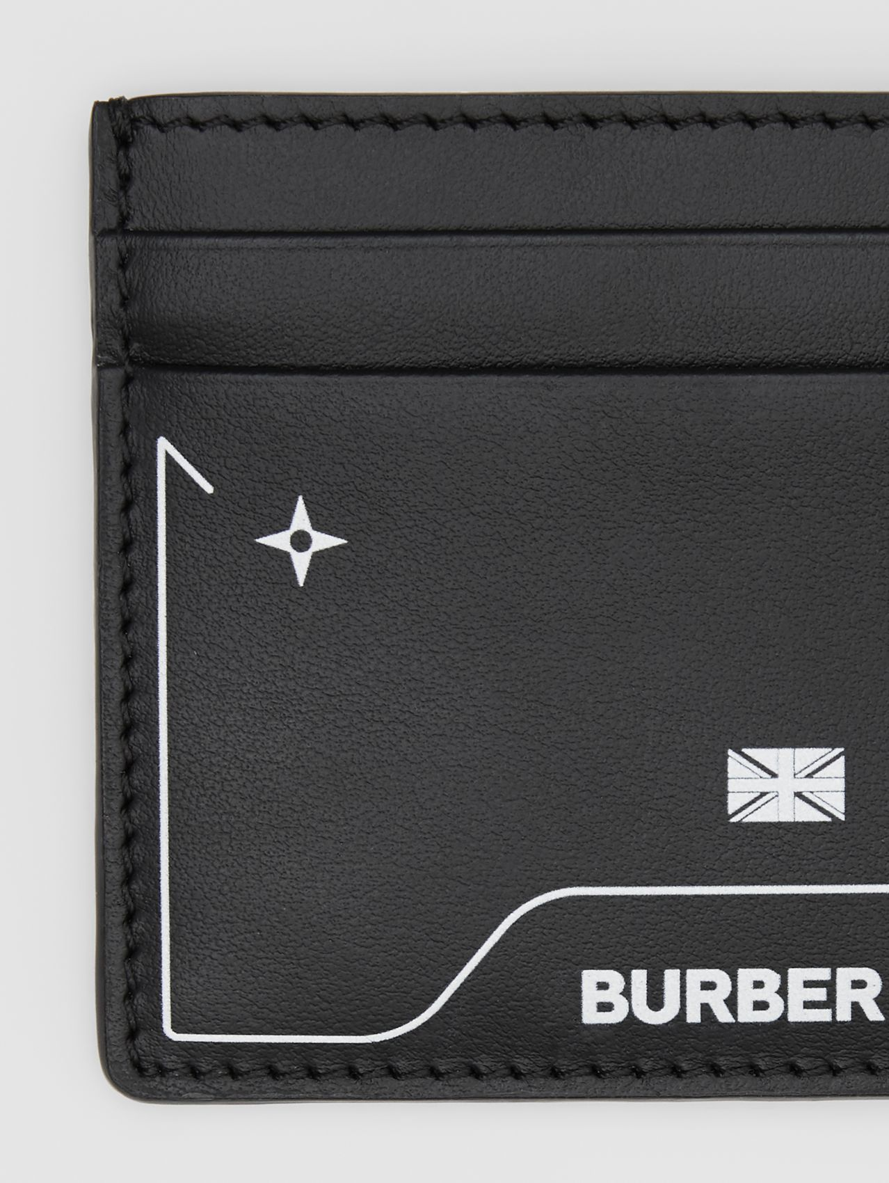 Symbol Print Leather Card Case (Black)