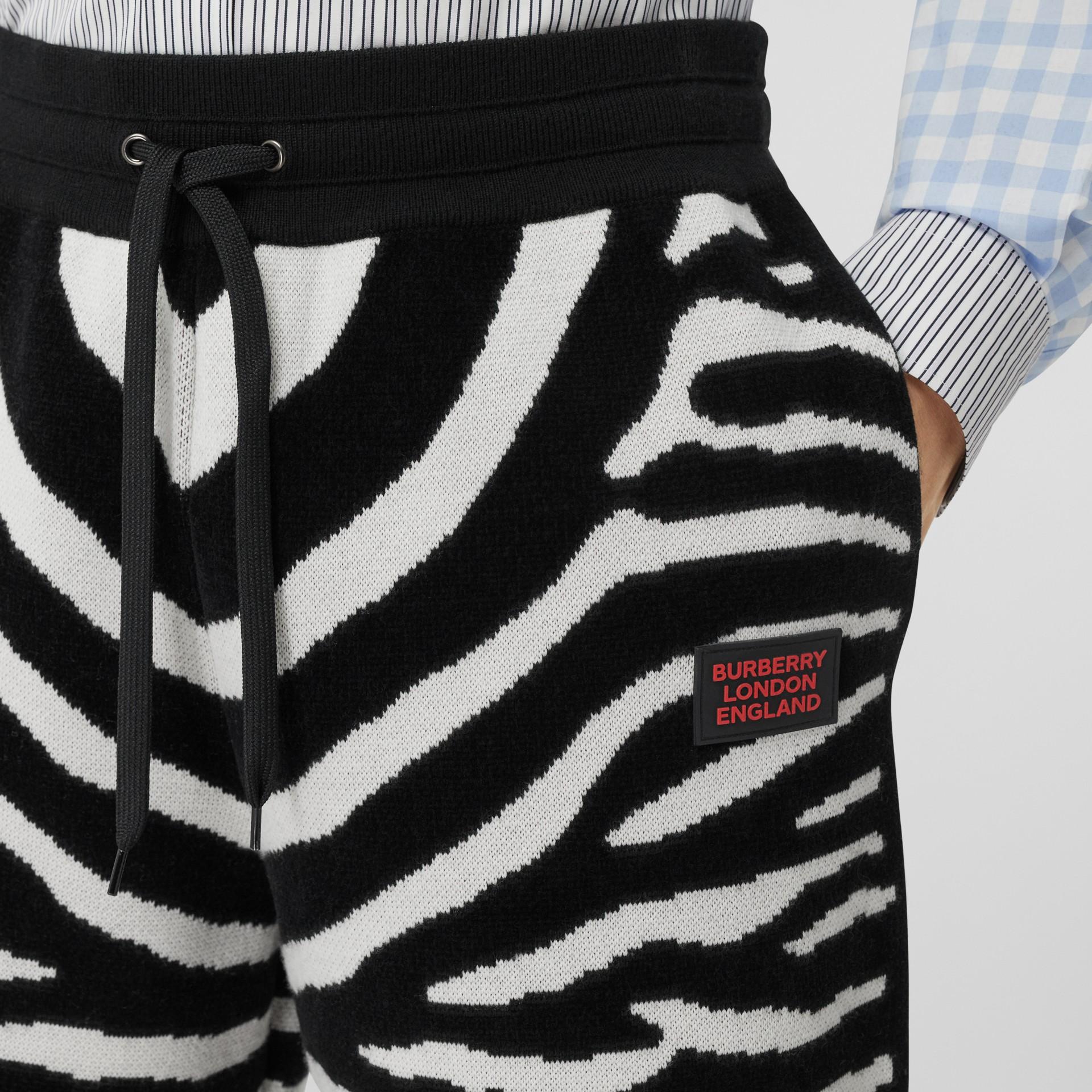 Zebra Wool Blend Jacquard Drawcord Shorts in Black | Burberry United Kingdom - gallery image 1