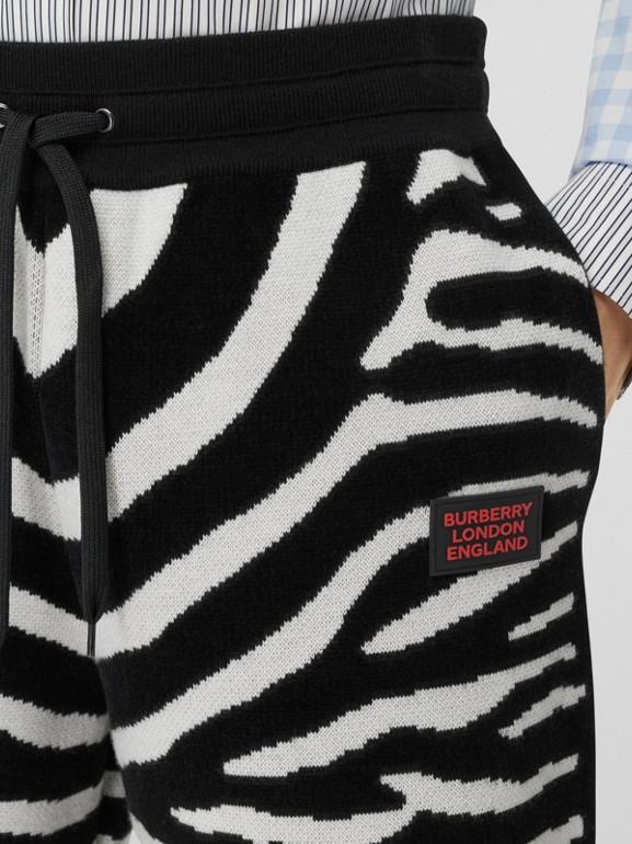 Zebra Wool Blend Jacquard Drawcord Shorts in Black | Burberry United Kingdom - cell image 1