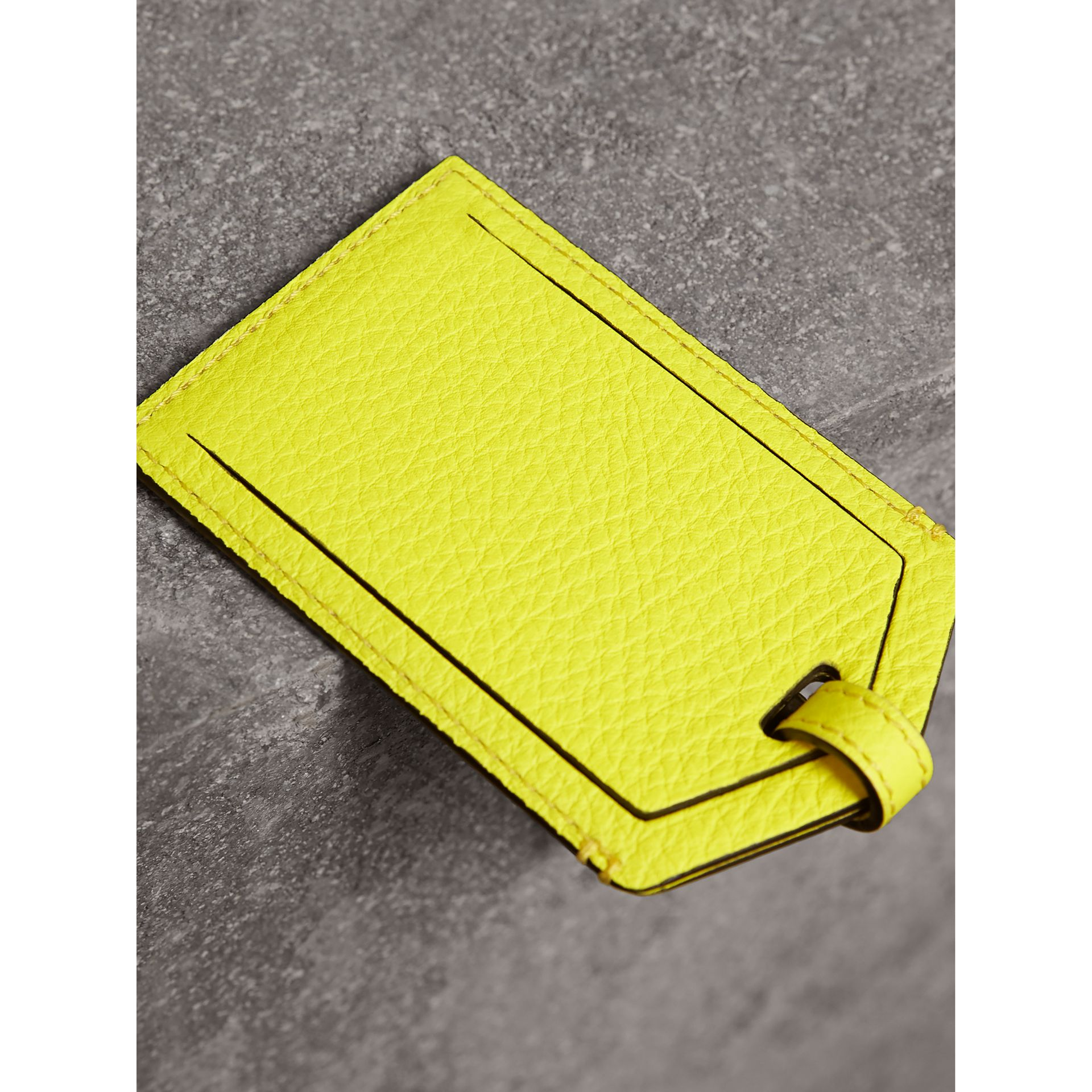Embossed Leather Luggage Tag in Bright Yellow | Burberry Australia - gallery image 2