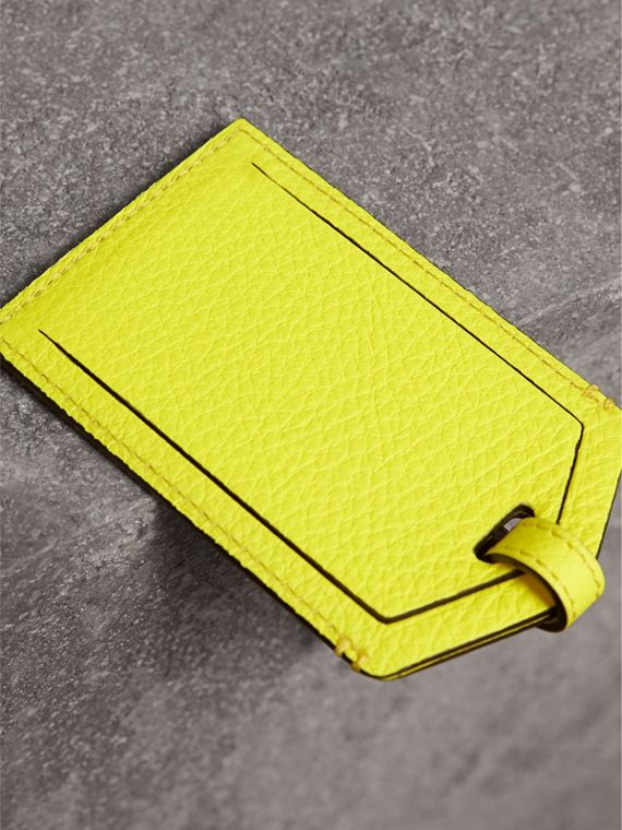 Embossed Leather Luggage Tag in Bright Yellow | Burberry Singapore - cell image 2