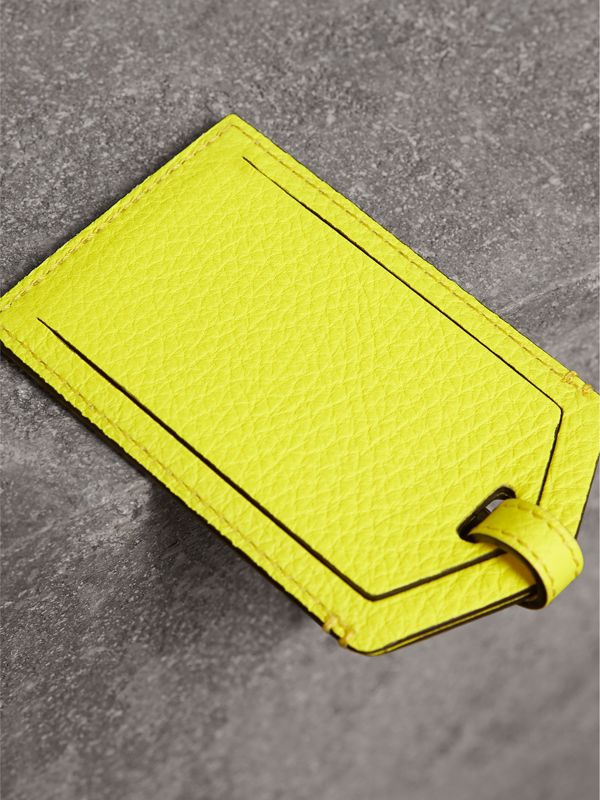 Embossed Leather Luggage Tag in Bright Yellow | Burberry - cell image 2