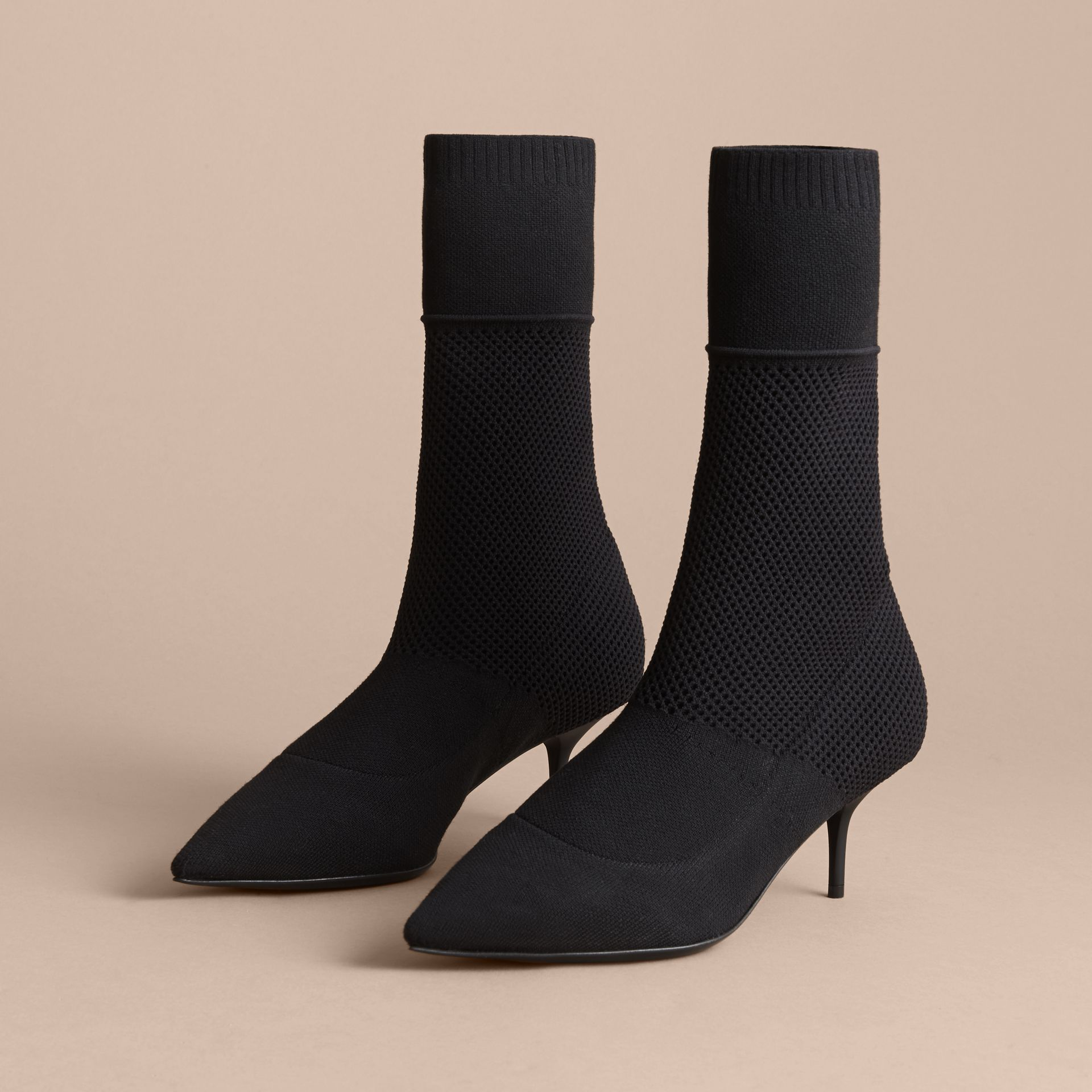 Mid-calf Knitted Mesh Detail Boots in Black - Women | Burberry - gallery image 4