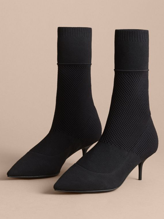 Mid-calf Knitted Mesh Detail Boots in Black - Women | Burberry Singapore - cell image 3