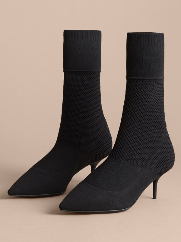 Mid-calf Knitted Mesh Detail Boots in Black | Burberry United States - cell image 3