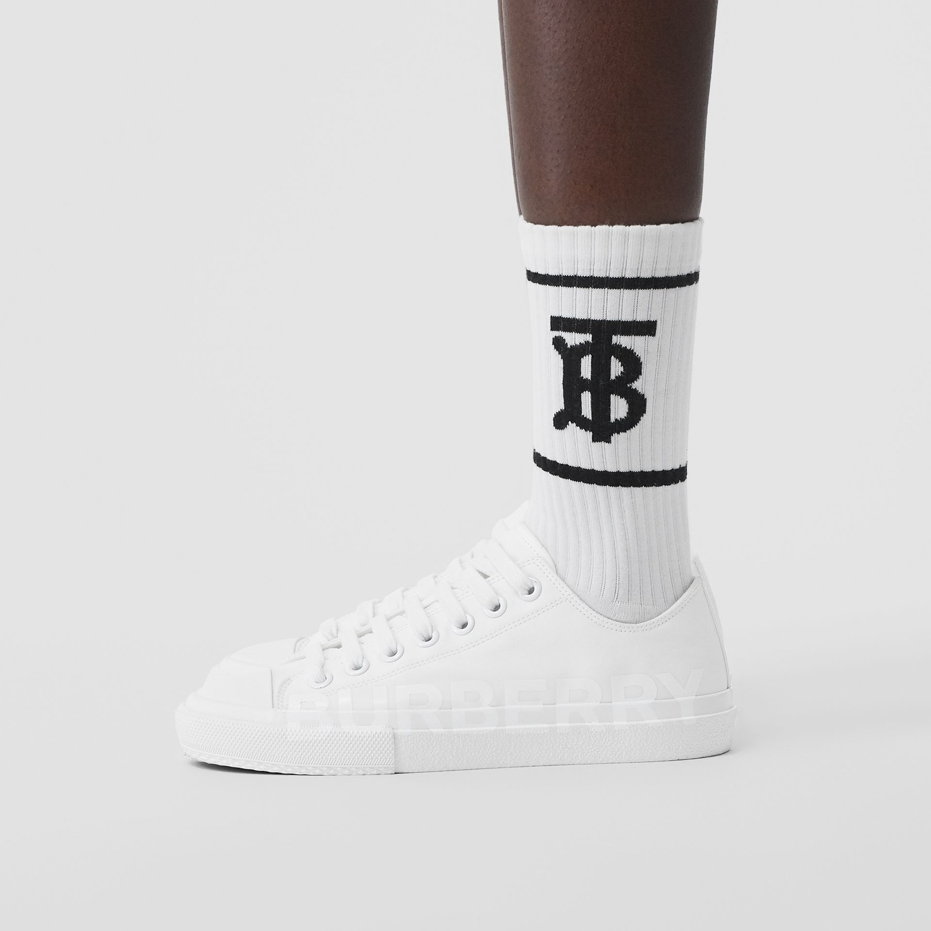Women's Logo Print Cotton Gabardine Sneakers in Optic White - Women | Burberry - gallery image 1
