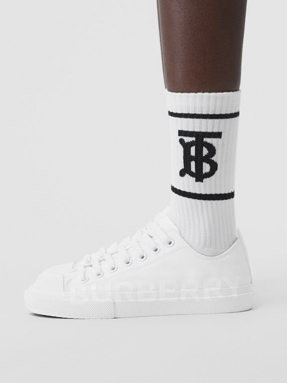 Women's Logo Print Cotton Gabardine Sneakers in Optic White - Women | Burberry - cell image 1