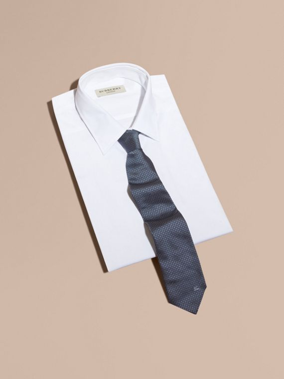 Modern Cut Patterned Silk Tie in Light Blue - Men | Burberry Singapore - cell image 3