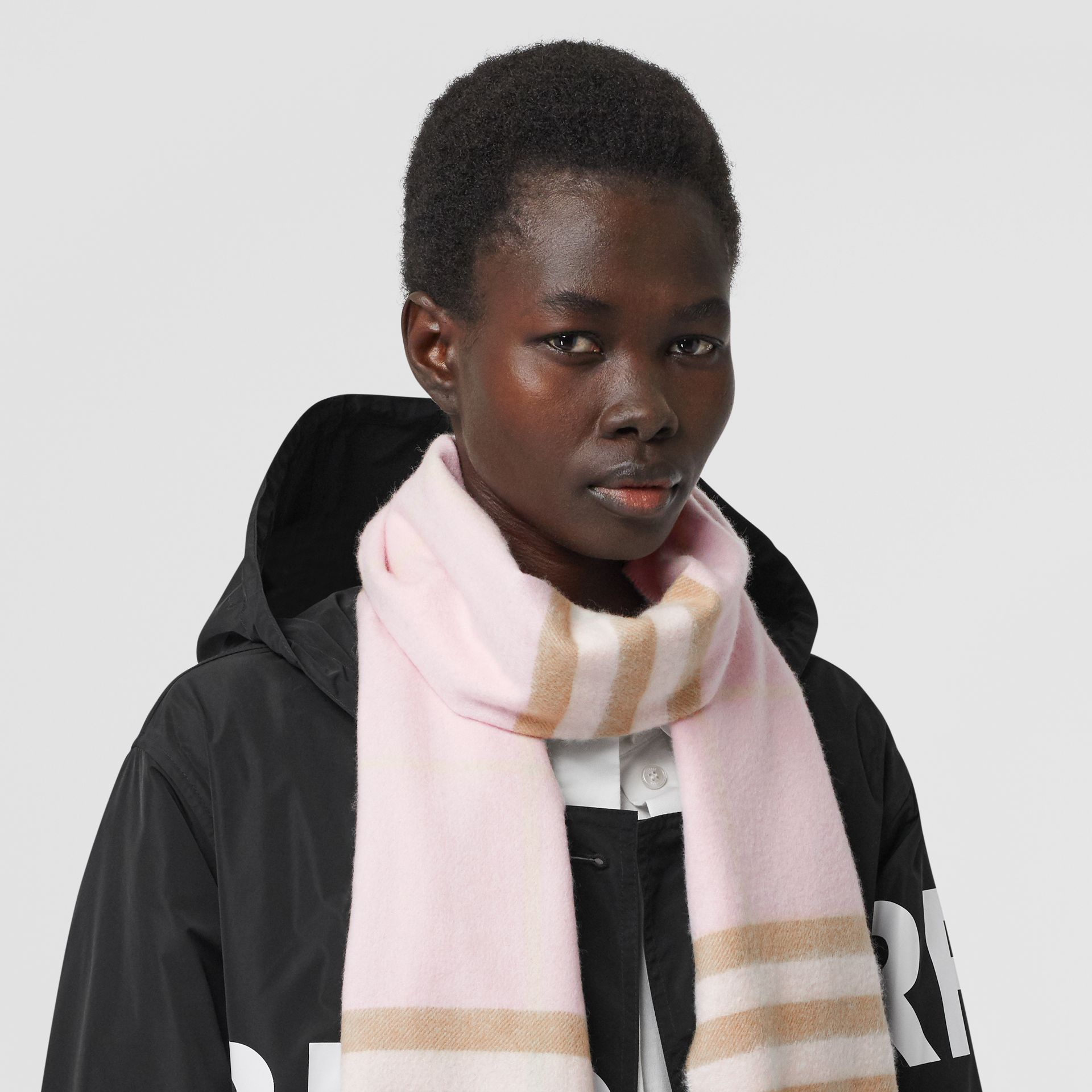 The Classic Check Cashmere Scarf in Alabaster | Burberry United Kingdom - gallery image 2