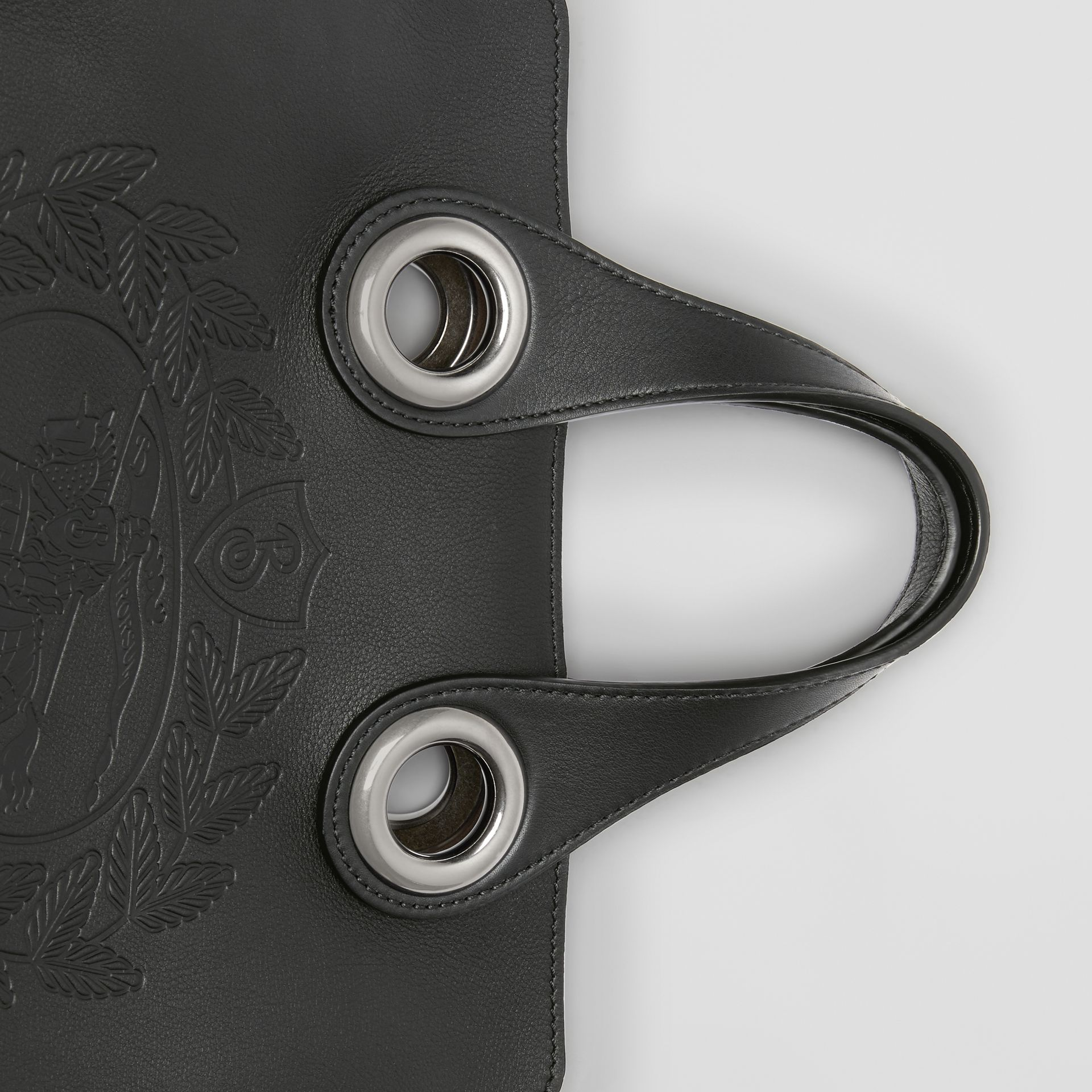 The Leather Crest Grommet Detail Tote in Black - Women | Burberry - gallery image 1