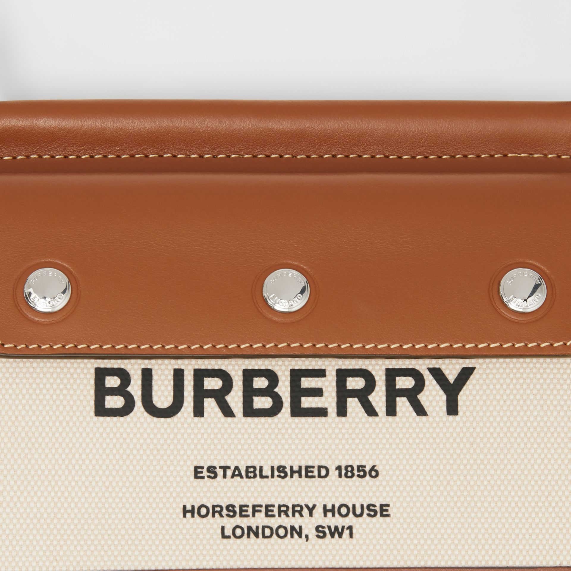 Mini Horseferry Print Title Bag with Pocket Detail in Natural/malt Brown - Women | Burberry Australia - gallery image 1