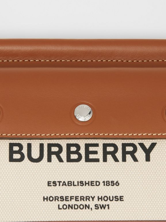 Mini Horseferry Print Title Bag with Pocket Detail in Natural/malt Brown - Women | Burberry - cell image 1
